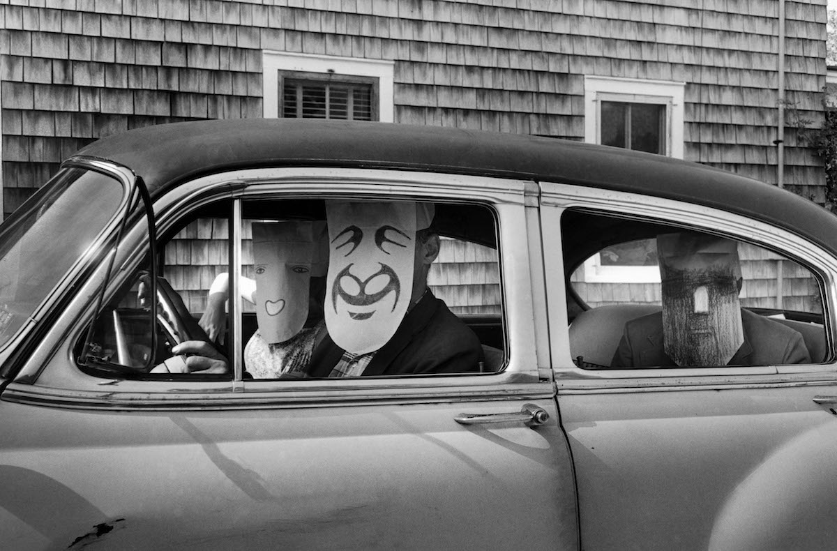 USA. Untitled. (from the Mask Series with Saul Steinberg), 1962.  Photograph by Inge Morath/MAGNUM PHOTOS. Mask by Saul Steinberg © The Saul Steinberg Foundation/ARS, NY