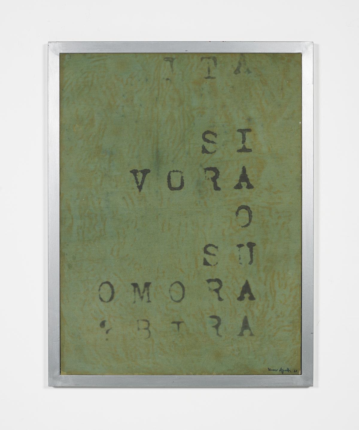 Vincenzo Agnetti, Frammento di macchina drogata, 1968, ph. Max Pescio